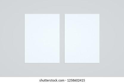 A4 Flyer / Letterhead Mock-Up - Two Flyers. 3D Illustration