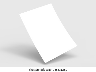 A4 format empty paper note template. White sheet  paper mock up. 3D illustrating