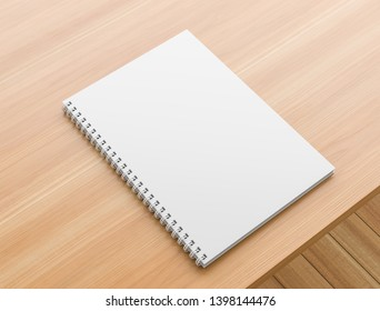 A4 format spiral binding notebook mock up on wooden table. Realistic notebook mock up. 3D illustration.