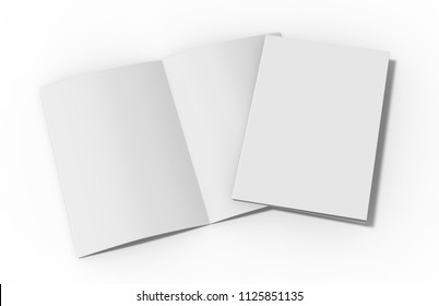 A4 half-fold brochure blank white template on isolated white background, bi-fold brochure for mock up and presentation design, 3d illustration.