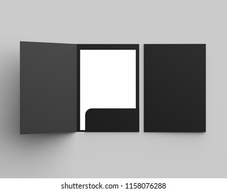 A4 size single pocket reinforced black folder mock up isolated on gray background. 3D illustration