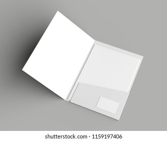 A4 size single pocket reinforced folder with business card mock up isolated on gray background. 3D illustration.