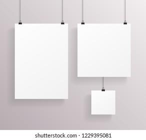 A4 Square Paper Big Little Realistic Poster Icon Template Transperent Background Mock Up Design  Illustration