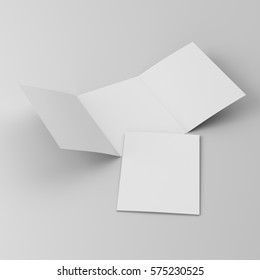 A4 trifold leaflets or brochures template. 3D rendering