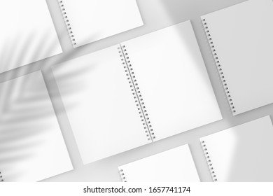 A4/A5/A6 Spiral Notebook White Blank 3D Rendering Mockup With Shadow Overlay