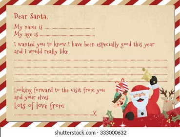 A5 Child's Letter to Santa with space to personalise