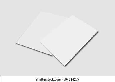A5 Flyer / Invitation Mock-Up On Isolated White Background, Realistic Rendering Of Blank Flyers, 3D Illustartion