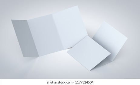 A5/A4 Blank trifold paper brochure mockup, realistic 3D illustration for corporate branding presentation, isolated on white background.