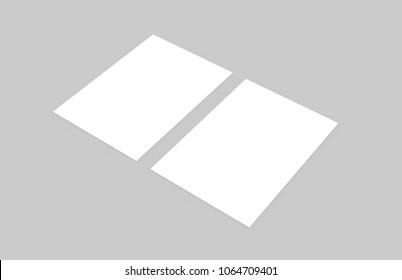 A6 Flyer, Postcard, Invitation Mock-Up On Isolated Background, 3D Illustration