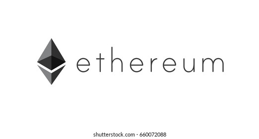 AACHEN, GERMANY - JUNE 14, 2017: Illustration of Ethereum Logo on simple Background. Ethereum is a security computer encryption concept for online banking and secure contract technology