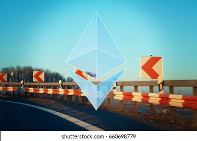 AACHEN, GERMANY - JUNE 14, 2017: Illustration of Ethereum Logo on complex Background. Ethereum is a security computer encryption concept for online banking and secure contract technology
