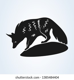 An Aardwolf in Southern Africa. illustration of aardwolf  isolated on white background