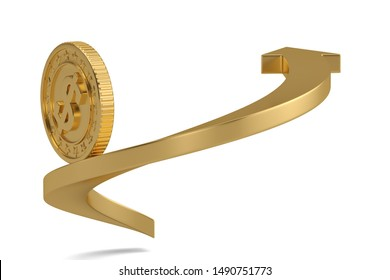 Aarrow and gold coin isolated on white background. 3D illustration.
