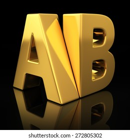 AB letters on black background with reflection. Split test versions concept