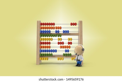 Abacus in 3D is standing against bright yellow background while a blue collar business consultant is checking if everything is ok. 3D rendering