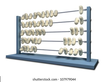 An abacus that has white beans instead of beads in five rows with ten in each