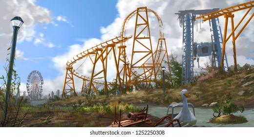 Abandoned Amusement Park. Fiction Backdrop. Concept Art. Realistic Illustration. Video Game Digital CG Artwork. Nature Scenery.