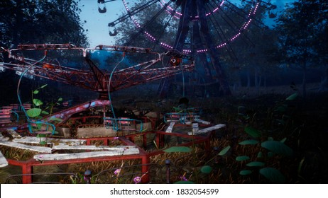 Abandoned Apocalyptic Ferris wheel and carousel in an amusement Park in a city deserted after the Apocalypse. 3D Rendering.