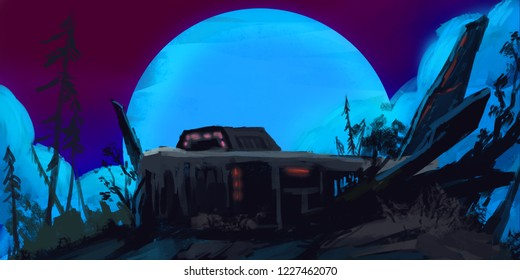 Abandoned Army Base in the Dark Forest. Realistic Style. Video Game Digital CG Artwork, Concept Illustration, Realistic Cartoon Style Scene Design