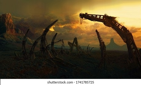 Abandoned, destroyed, futuristic scenery. Science fiction image. 2d illustration.