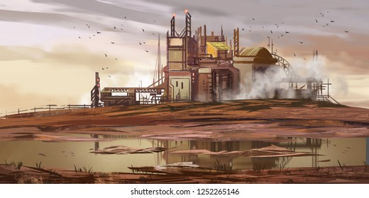 Abandoned Factory. Abandoned Mine Pit. Fiction Backdrop. Concept Art. Realistic Illustration. Video Game Digital CG Artwork. Nature Scenery.