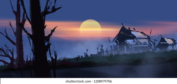 abandoned houses against big sun with twilight time (wide screen), digital paint illustration art design style.