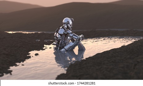 abandoned robot sitting in a puddle, 3d illustration