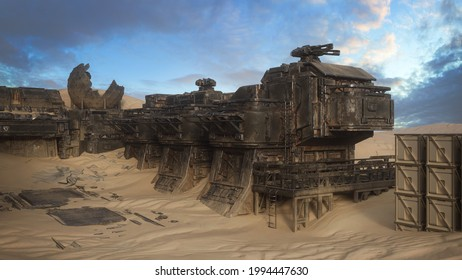 Abandoned ruin of an outpost in the desert of a remote alien planet. Fantasy sci-fi concept 3D illustration.
