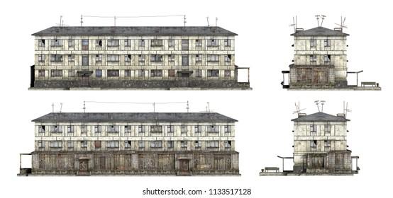 Abandoned Soviet 3-storey panel house. Set of 3d-renders