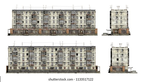 Abandoned Soviet 5-storey panel house. Set of 3d-renders