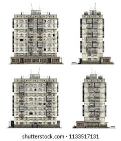 Abandoned Soviet 9-storey panel house. Set of 3d-renders
