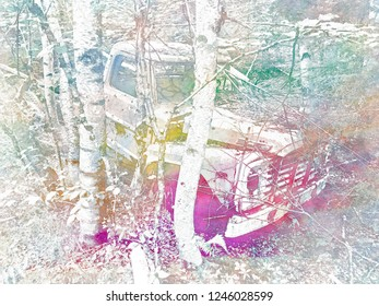 Abandoned Truck Front Rainbow Negative