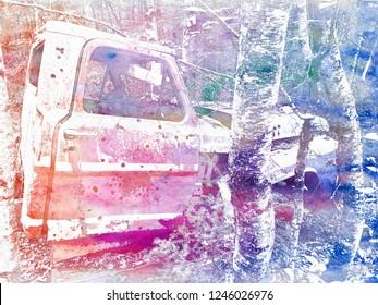 Abandoned Truck Side Color Negative