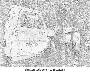 Abandoned Truck Side Pencil Sketch