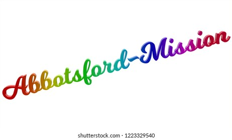 Abbotsford-Mission City Name Calligraphic 3D Rendered Text Illustration Colored With RGB Rainbow Gradient, Isolated On White Background