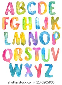 ABC, alphabet watercolor letters over white for beautiful design