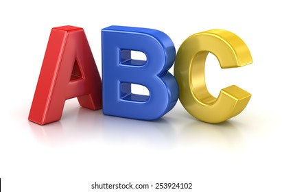 Abc Letter , computer generated image. 3d rendered image.