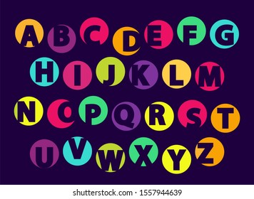 Abc letters color font sample isolated on black background. english alphabet capital signs creative typography symbols in flat style design raster