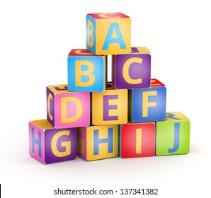 A,B,C letters on pyramid stack alphabet cubes on white