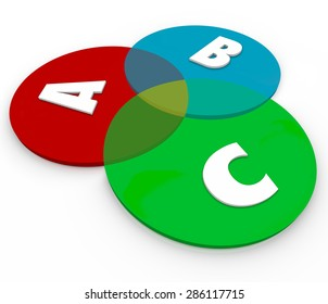 ABC Letters On Venn Diagram Overlapping Circles To Show Common Ground Of Different Choices Principles