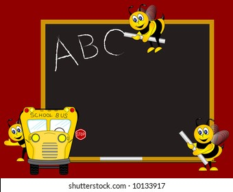 ABC on chalk board written by Bees with school bus. Background.