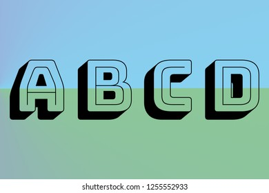 abcd blue and green alphabet font