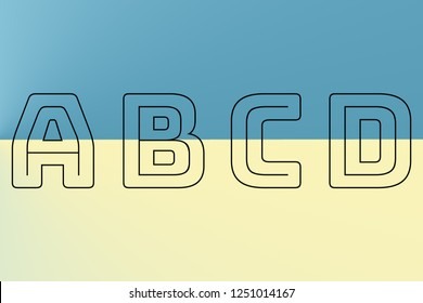 abcd blue and yellow alphabet font