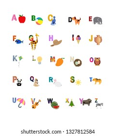 Abcd Letters with Pictures, Capital Letters,colorful letters with images,different colors, A-Z alphabets,learn abc for pre-school and kids