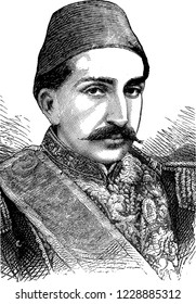 Abdulhamid II portrait, Ottoman sultan from 1876 to 1909, who autocratically rules the reform movement of Tanzimat (Reorganization) reached its climax and adopted a policy of Pan-Islamism.