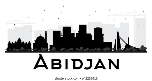 Abidjan City skyline black and white silhouette. Simple flat concept for tourism presentation, banner, placard or web site. Cityscape with landmarks.