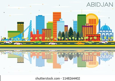 Abidjan Ivory Coast City Skyline with Color Buildings, Blue Sky and Reflections. Business Travel and Tourism Concept with Modern Architecture. Abidjan Cityscape with Landmarks.