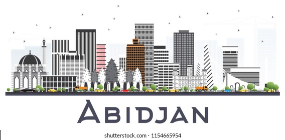 Abidjan Ivory Coast City Skyline with Gray Buildings Isolated on White. Business Travel and Tourism Concept with Modern Architecture. Abidjan Cityscape with Landmarks.
