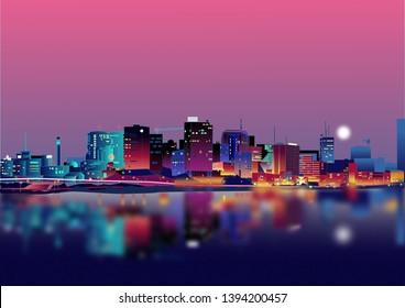 Abidjan Skyline at Nighttime View from Blockhouse across the lagune