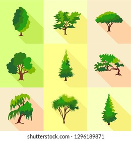 Abies icons set. Flat set of 9 abies icons for web isolated on white background